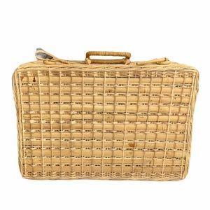 Vintage Handwoven Wicker Picnic Basket Suitcase